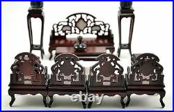 Vintage Chinese ROSEWOOD CHAIR INLAID miniature DOLL furniture Complete Set