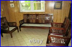Vintage Chinese Rosewood Marble Mother of Pearl Sofa + 3 matching chairs set