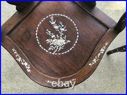 Vintage Chinese Rosewood Mother of Pearl Inlay Corner Chairs Pair