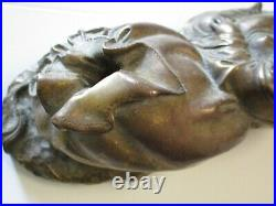 Vintage Chinese Scholar Signed Marking Happy Buddha Luck Metal Bronze Yellow