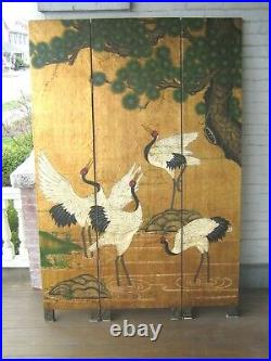 Vintage Chinese Screen 72 x 48 3 Panel Cranes Room Divider VGC