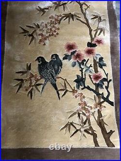 Vintage Chinese Silk Floral & Bird Design Rug / Wall Hanging 120 x 60