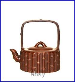 Vintage Chinese Yixing Zisha Purple Clay Bamboo Form Tall Handle Ceramic Teapot