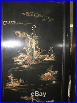 Vintage Chinese black carved wooden screen with inlaid jade or soapstone