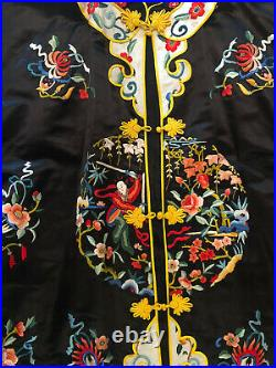 Vintage Chinese hand embroidered Silk mandarin kimono robe dress coat Size M