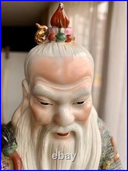 Vintage Chinese hand painted old man porcelain figurine