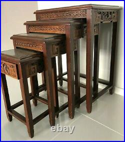 Vintage Chinese set of 4 hand carved figures wood nest tables + glass covers
