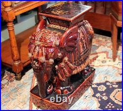 Vintage Elephant Garden Table Stool Chinese Large Ceramic Pottery Figure Statue