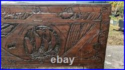 Vintage Hand Carved Oriental Chinese Camphor Wood Box Trunk Hope Chest Table
