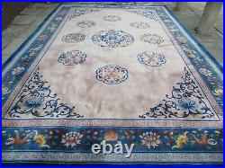 Vintage Hand Made Art Deco Chinese Beige Blue Wool Large Carpet 450x304cm