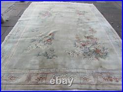 Vintage Hand Made Art Deco Chinese Carpet Green Wool Large Rug Carpet 366x278cm