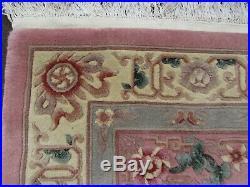 Vintage Hand Made Art Deco Chinese Carpet Pink Wool Large Rug Carpet 280x183cm