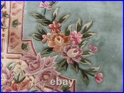 Vintage Hand Made Art Deco Chinese Oriental Green Wool Rug Carpet 366x275cm