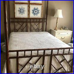 Vintage Hollywood Regency Chinese Chippendale Faux Bamboo Queen Bed WithCanopy