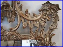 Vintage Large Chinese Chippendale Carved Wood Mirror Made in Italy 63 x 32