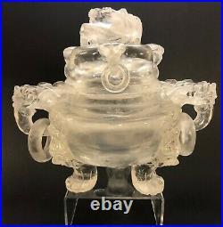 Vintage Large Chinese Rock Crystal Carved Vessel
