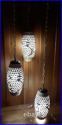 Vintage MCM Hollywood Regency Hanging Swag Lamp Light Porcelain White Chinese