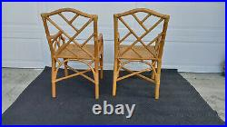 Vintage Mid Century Pair Chinese Chippendale Bamboo Rattan Wicker Arm Chairs