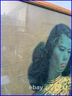 Vintage Mid Century Retro Tretchikoff Chinese Girl on Board framed Green Lady #2