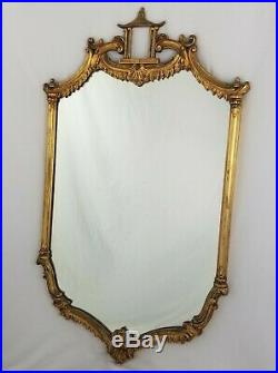 Vintage Pagoda Wooden Carved Chinoiserie Gold Gilded Mirror Chinese Chippendale