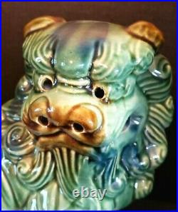 Vintage Pair Green Blue Chinese Porcelain Foo Dogs Liions Statue 8.5 Buddhist
