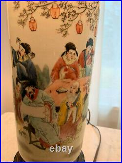Vintage Pair of Hand Painted Chinese Porcelain Vase Table Lamps