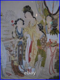 Vintage Possibly Antique Chinese or Japanese Painting on Silk of Various Women