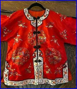 Vintage Red Embroidered Chinese Silk Cheongsam Robe Kimono Coat Jacket