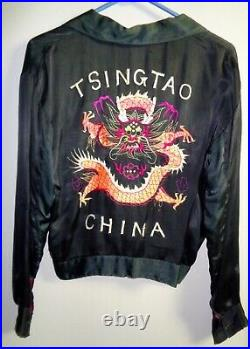 Vintage, Silk Chinese Jacket WWII Souvenir With Dragon