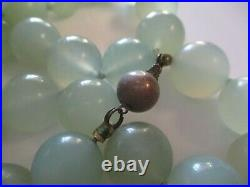 Vintage Sterling Silver Clasp Jade Ball Bead Necklace Green Chinese Art Scholar