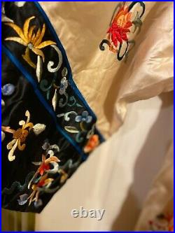 Vintage Stunning Chinese Colorful Silk  Floral Embroidered Robe/KimonoSVG