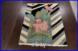 Vintage Vegetable Dye Art Deco Chinese Area Rug Hand-knotted Wool Carpet 8'x10