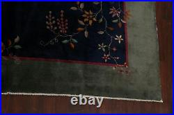 Vintage Vegetable Dye Art Deco Nichols Chinese Area Rug Hand-knotted 9x11 Carpet