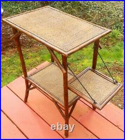 Vintage Victorian Chinese Bamboo Wicker Rattan Stand End Table foldout shelf