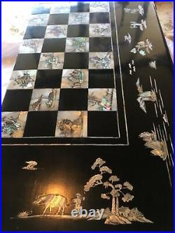 Vintage antique backgammon Chinese checkers and chess board in one