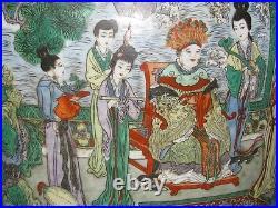 Vintage mid 20thC Chinese FAMILLE VERTE PORCELAIN GU FORM VASE WITH FIGURES