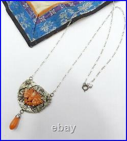 Vintage sterling silver chain w antique Chinese metal & natural carved coral bu