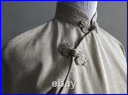 Vtg 50s Cheongsam Qipao Hong Kong Dress Chinese Knot Mandarin Collar Wiggle Boho