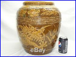 Vtg Chinese Dragon Bowl Jardiniere Planter Large Oriental Pottery Pot
