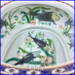 Vtg Chinese Handpainted Porcelain Oval Fish Bowl Imperial Courtyard Planter Pot