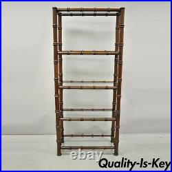 Vtg Faux Bamboo Hollywood Regency Chinese Chippendale Wood Glass Etagere Stand