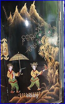 Vtg Oriental Chinese Furniture Black Lacquer Corner Cabinet Girl Lady Landscape