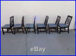 Vtg Set of 8 American of Martinsville Fretwork Dining Chairs Chinese Chippendale